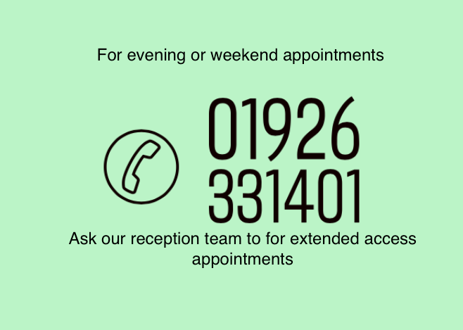 Evening and weekend appointments click here
